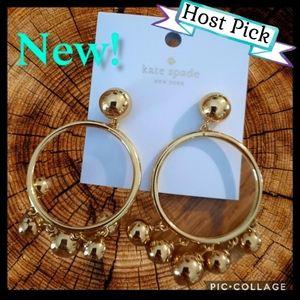 KATE SPADE Gold Dangle Hoop Earrings